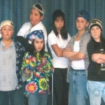 Phil Colasante, Alexa Roy, Giovanni Colasante, Peter Cashman, Dacia Cruz, and Heron Kennedy as The Herdmans in The Best Christmas Pageant Ever.