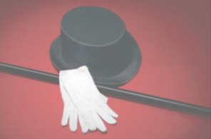 Top hat, cane, and white gloves
